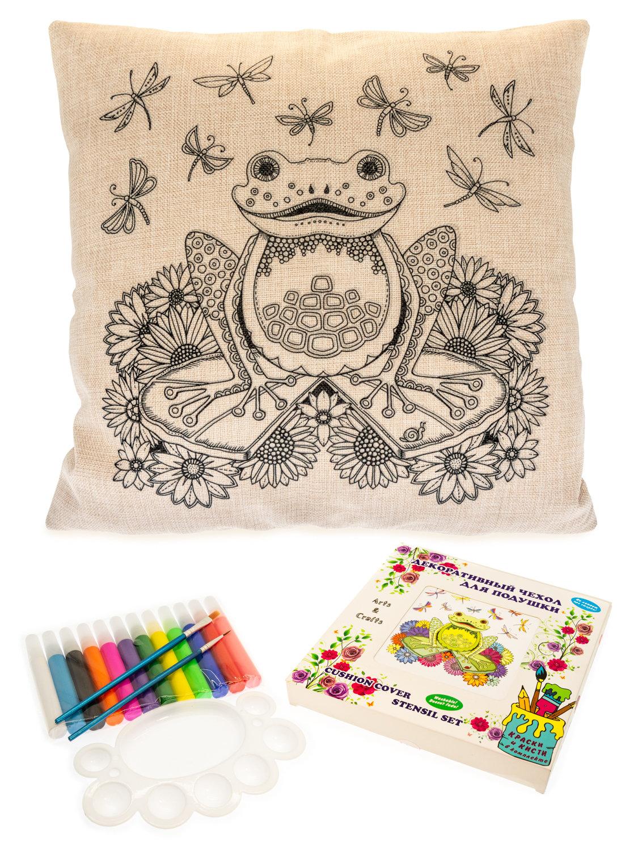 Лягушка на кувшинке в цветах. Чехол для подушки + краски и кисти