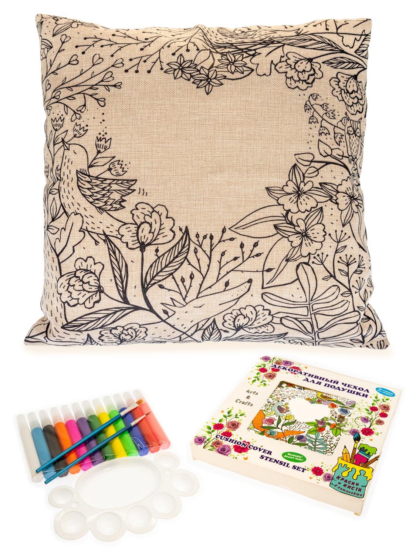 Сердце в цветах. Чехол для подушки + краски и кисти