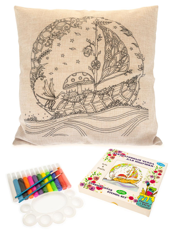 Сказочный кораблик с цветочными узорами. Чехол для подушки + краски и кисти