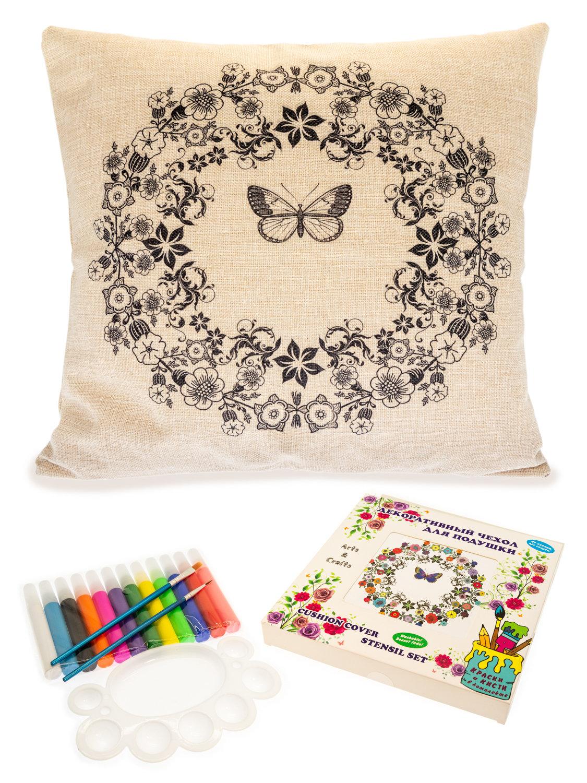 Цветочная фантазия с бабочкой. Чехол для подушки + краски и кисти