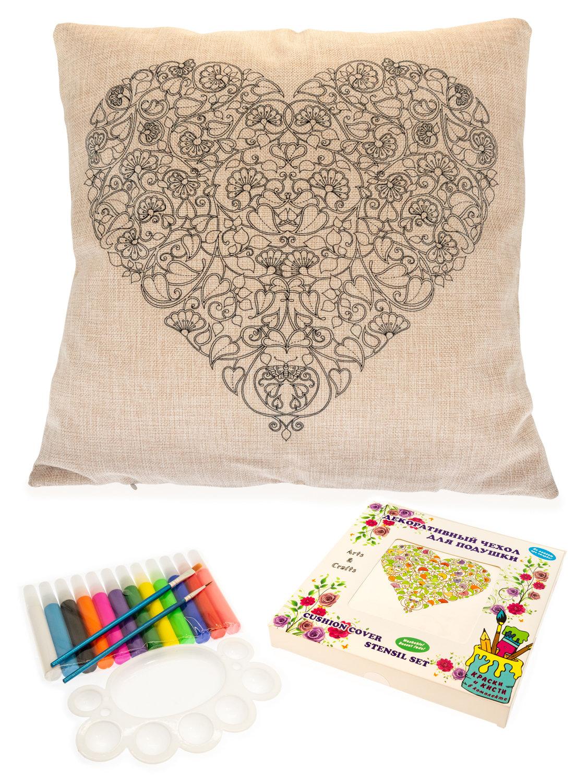 Цветочное сердце. Чехол для подушки + краски и кисти