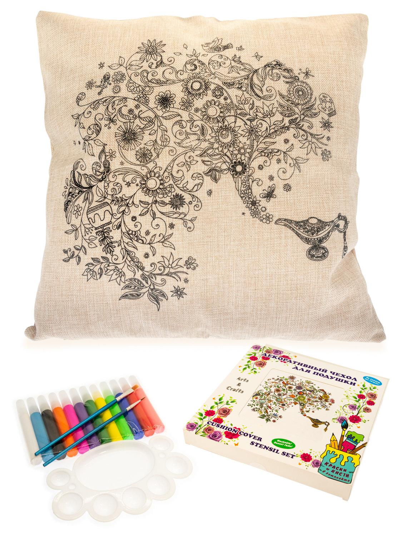 Цветочный сад из волшебной лампы. Чехол для подушки + краски и кисти