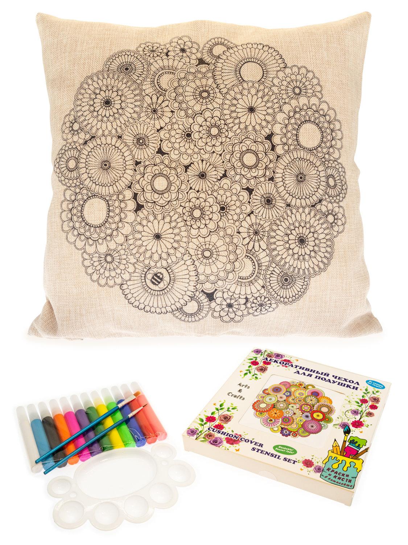 Цветочный фейерверк. Чехол для подушки + краски и кисти