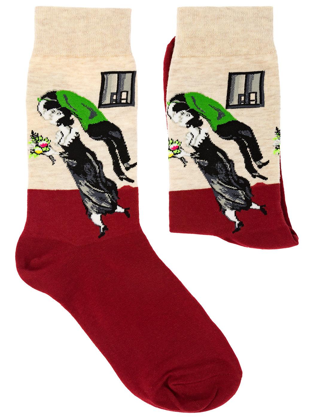 Носки с репродукцией картины День Рождения. М. Шагал