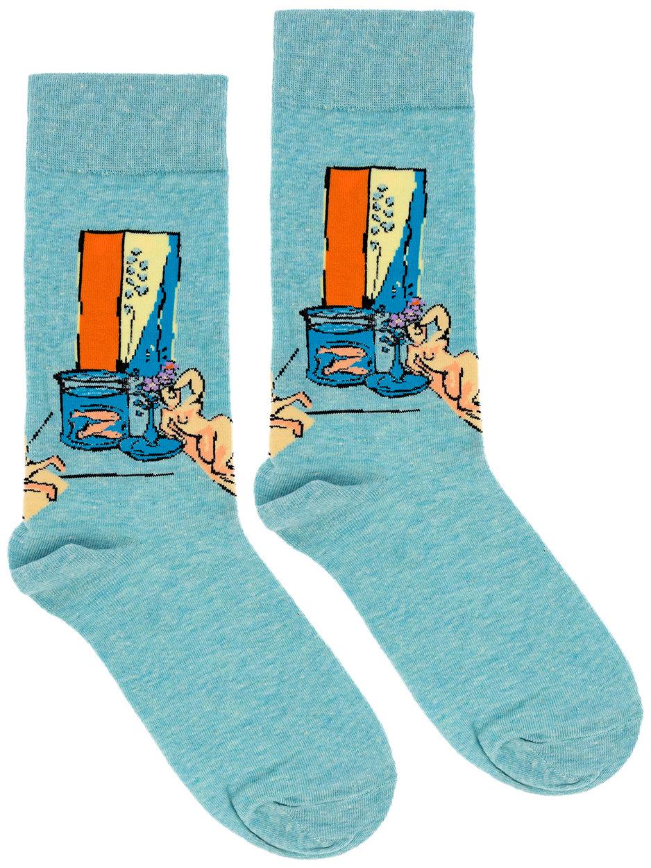 Носки Дама с цветами в голубых тонах