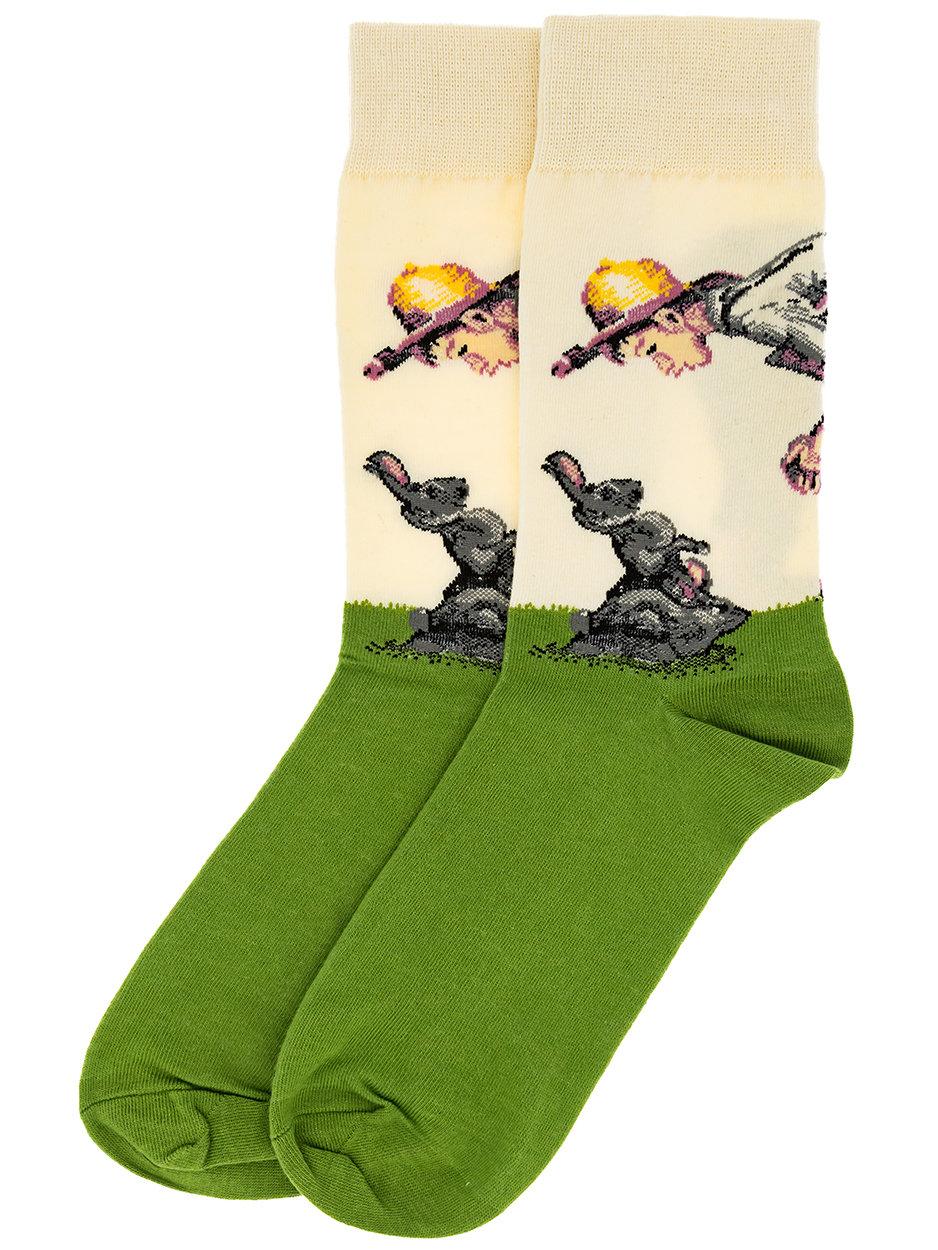 Носки Мальчик в соломенной шляпе и заяц