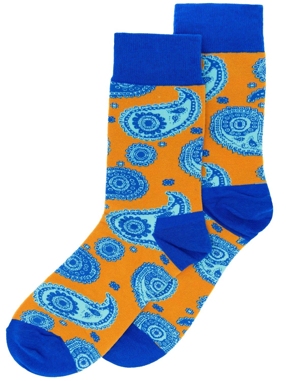 Носки Огурцы синие с оранжевым