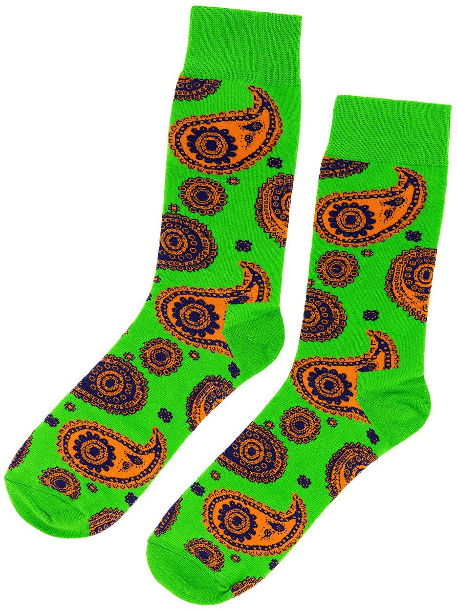 Носки Огурцы зеленые с оранжево-синим