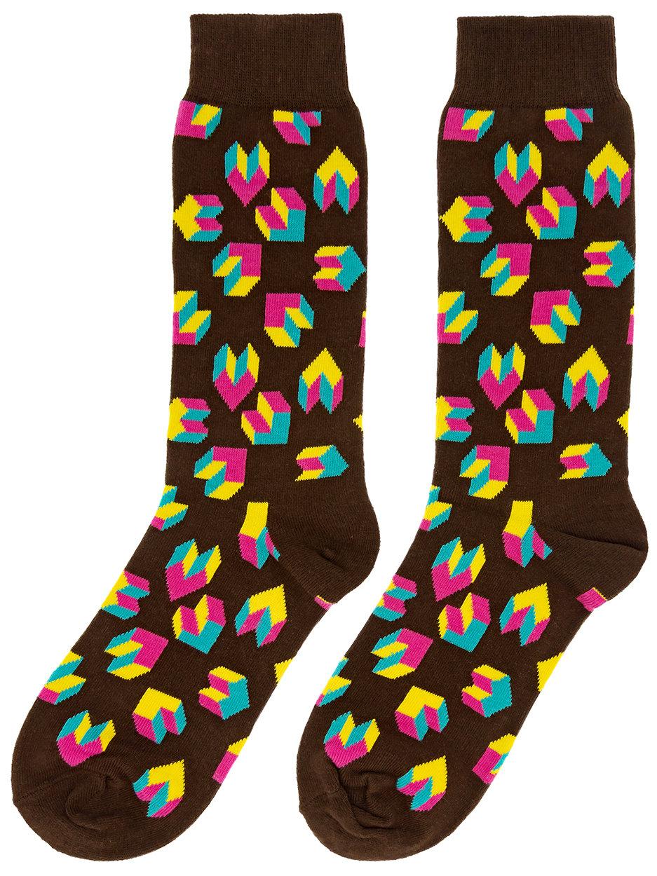 Носки Цветная геометрия коричневые
