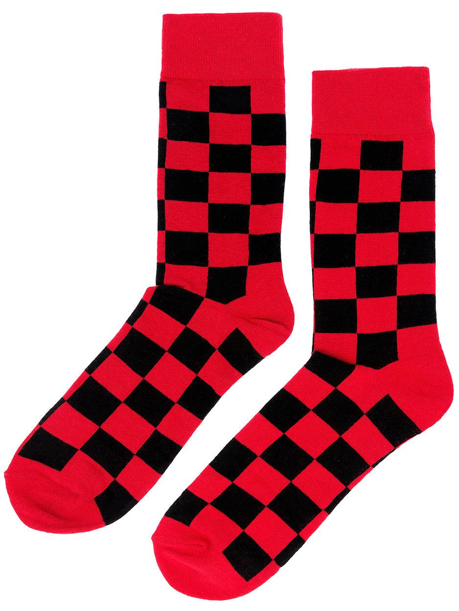 Носки Cubes клетчатые красно-черные