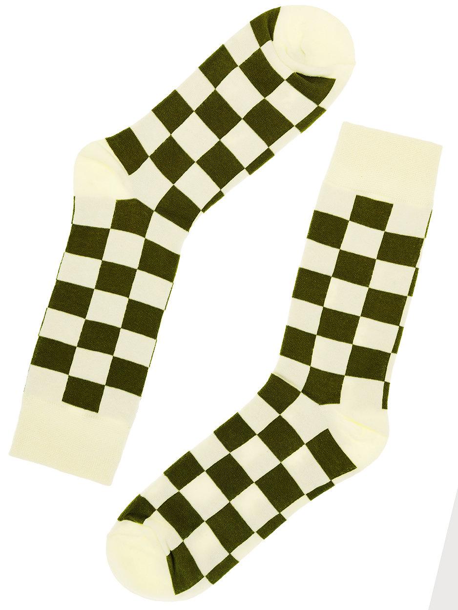 Носки Cubes клетчатые зеленые белые