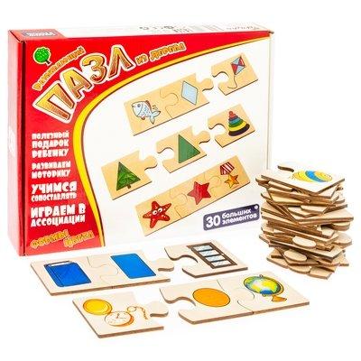 Формы. Играем в ассоциации. Развивающий пазл из дерева. 30 больших элементов