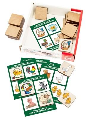 Развивающее ЛОТО. ДОМАШНИЕ ЖИВОТНЫЕ (24 деревянных фишки + 6 карточек)