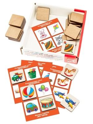 Развивающее ЛОТО. ИГРУШКИ (24 деревянных фишки + 6 карточек)