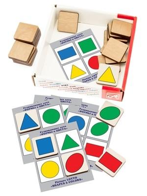 Развивающее ЛОТО. ФОРМЫ и ЦВЕТА (24 деревянных фишки + 6 карточек)
