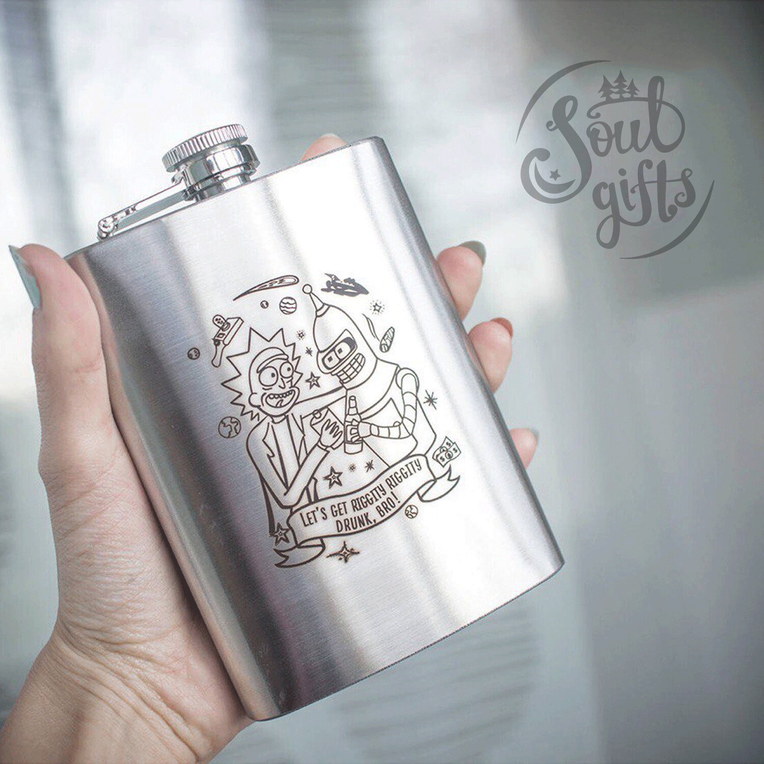 Space alcoholics flask / Rick and Bender
