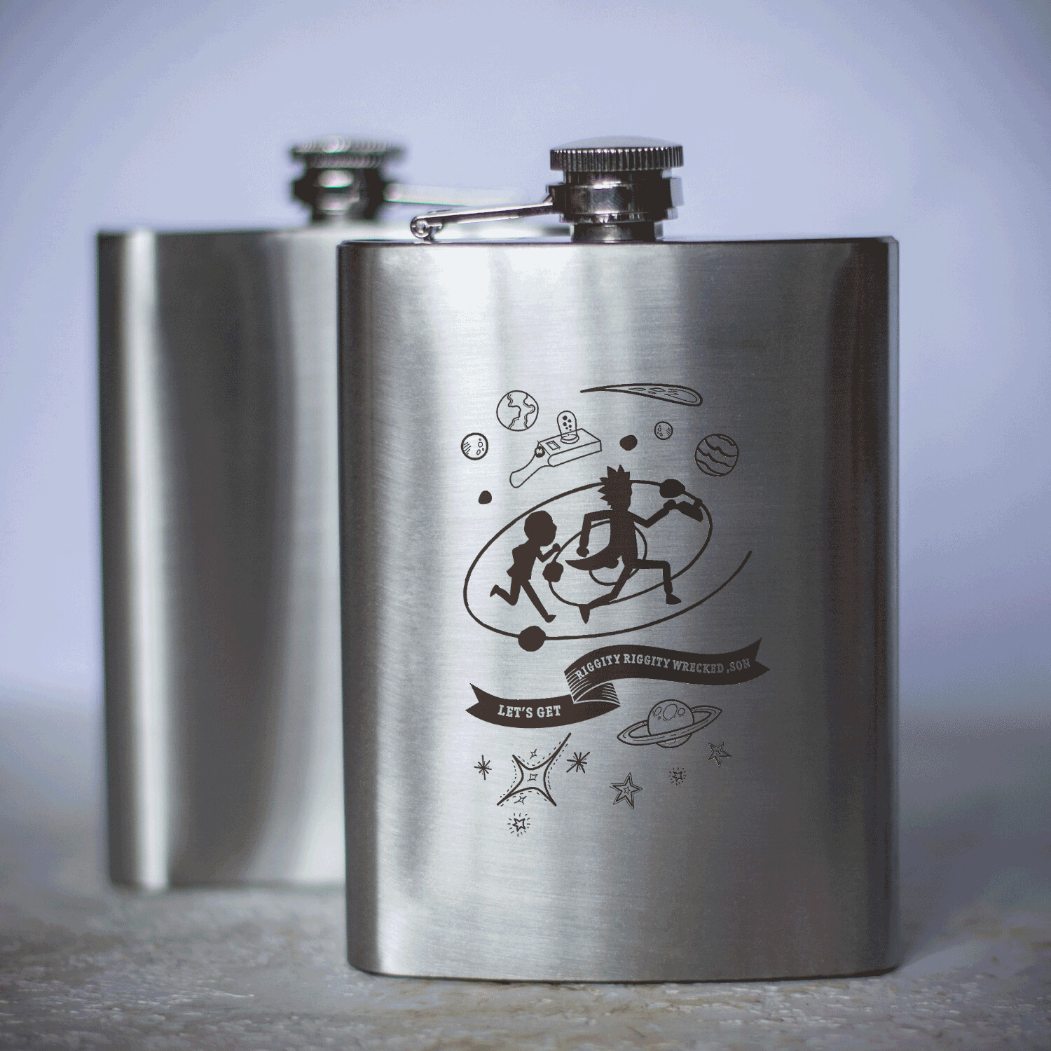 20 minute adventure Rick and Morty hip flask