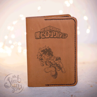 Izuku midoriya leather case/ Genuine leather cover for passport / My hero academia gift