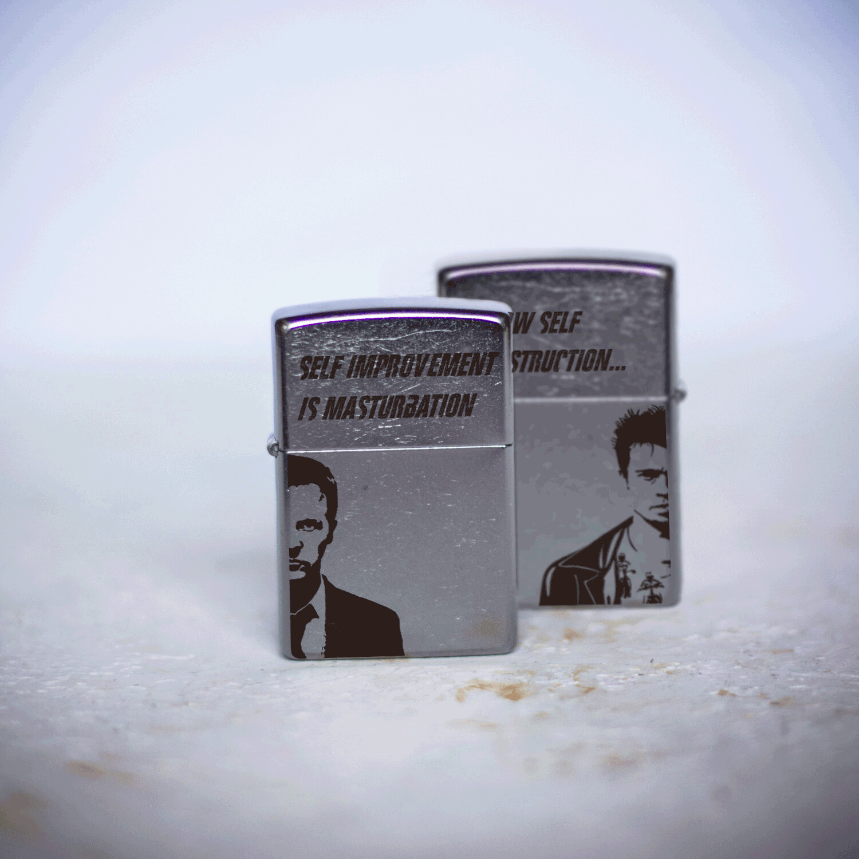 Fight Club custom Zippo 207 lighter / Tyler Durden / Brad Pitt / Edward Norton
