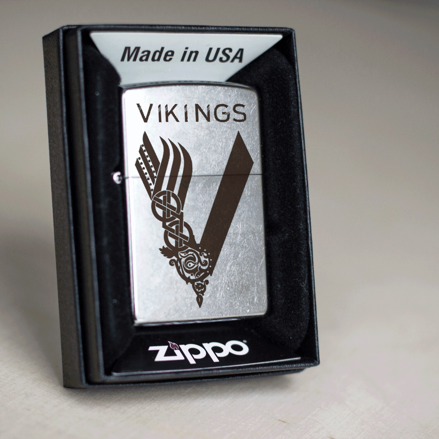 Vikings series custom Zippo 207 lighter / Ragnar Lodbrok / Bjorn Ironside