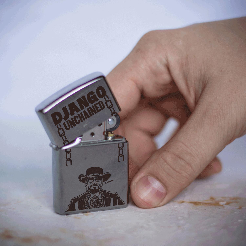 Django Unchained custom zippo 207 lighter / Quentin Tarantino / Jamie Foxx