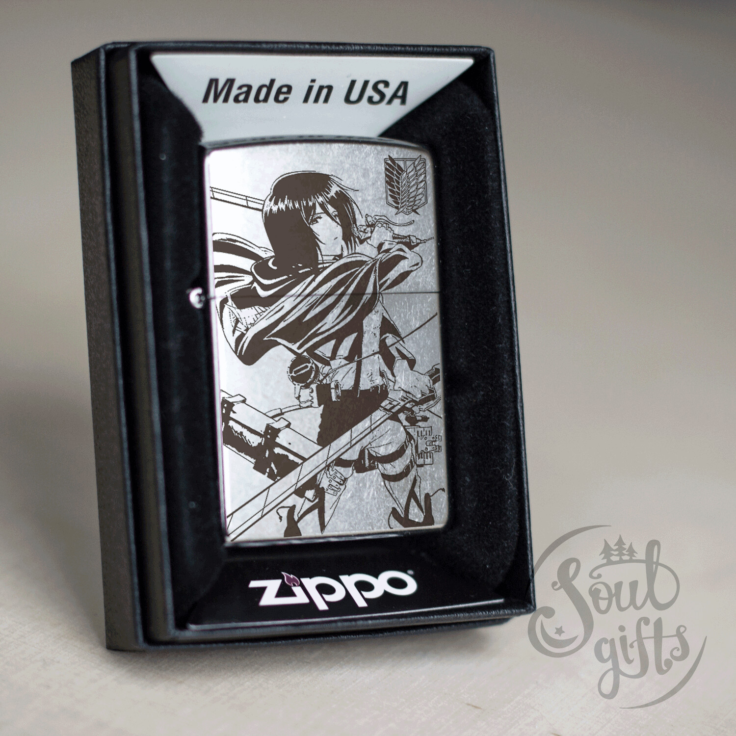 Attack On Titan Mikasa custom Zippo 207 / Silver Shingeki No Kyojin Oil Lighter Anime