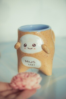 Cute creature ceramic mug, beige mug with speckles, gift for a friend, the cutest mug