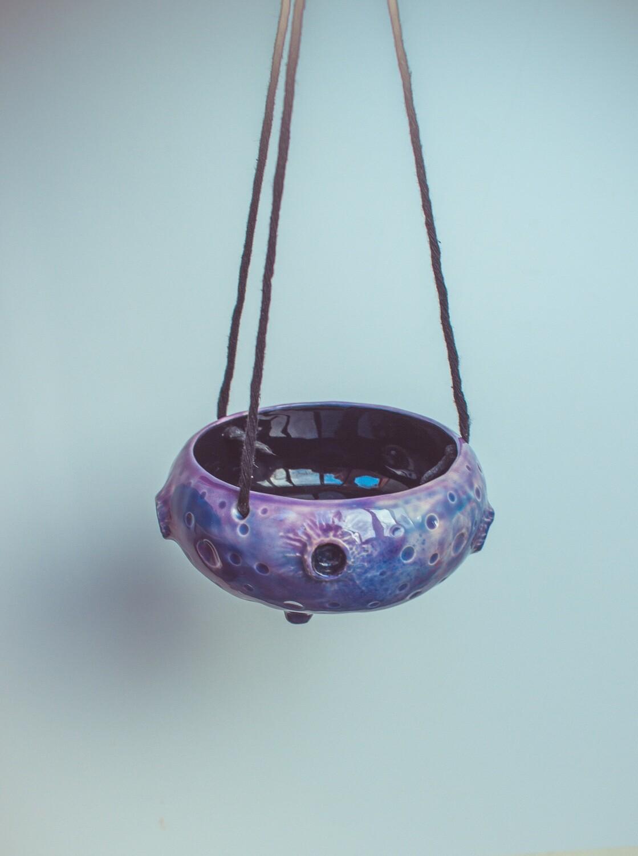 Small hanging planter pot, oddish planter indoor in galaxy colours, ceramic planter