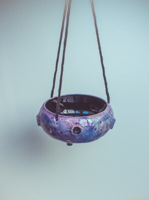 Small hanging planter pot, oddish planter indoor in galaxy colours, ceramic planter