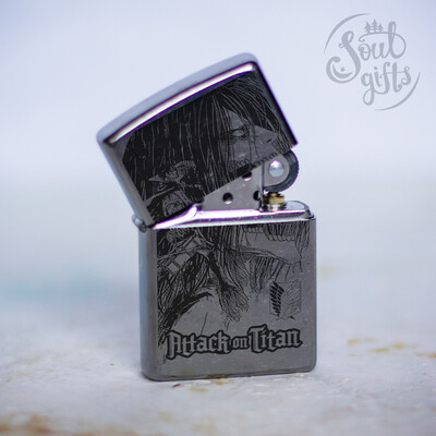 Attack On Titan Eren Jaeger Titan form custom Zippo 207 / Silver Shingeki No Kyojin Oil Lighter Anime