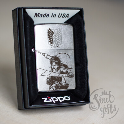 Attack On Titan Eren Jaeger On Vertical maneuvering equipment custom Zippo 207 / Silver Shingeki No Kyojin Oil Lighter Anime