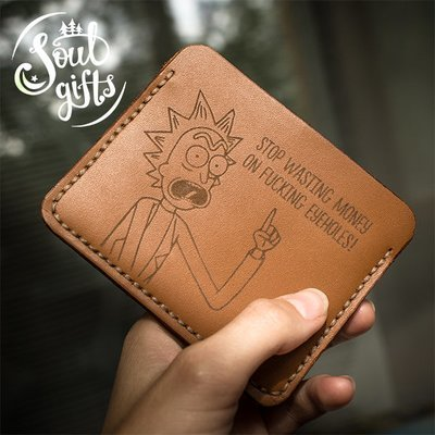 Genuine Leather Card holder Rick and Morty / Rick Sanchez