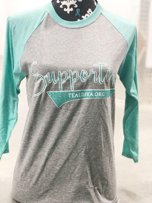"""""""Supporter"""" Glitter Baseball Tee"""