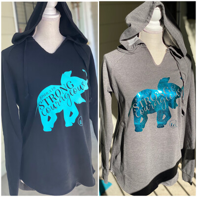 Sweatshirt, Hooded -  Black and Turquoise -or- Grey and Metallic Teal