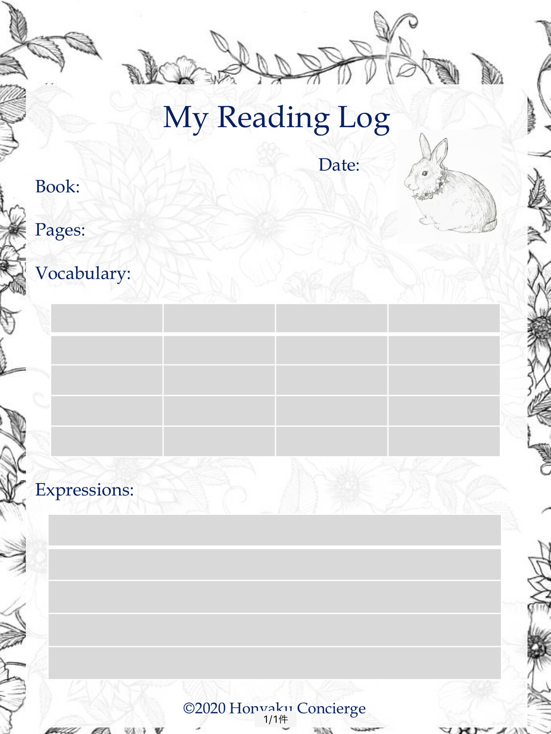 My Reading Log (For Books)