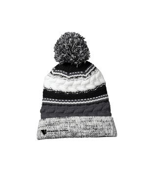 Sport-Tek® Pom Team Beanie - Embroidered: Iron Gray/Black/White
