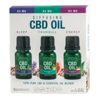 CBD Hemp Extract Essential Oil Sleep, Tranquil & Energy Blend - Diffusing Aromatherapy (3 Bottles)