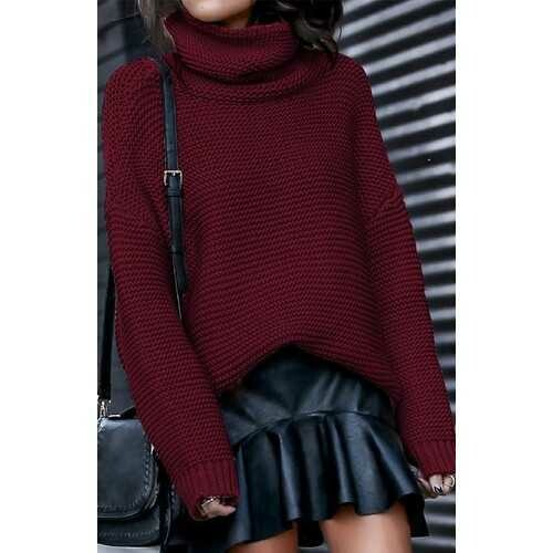 Wine Red High Neck Sweater for Women