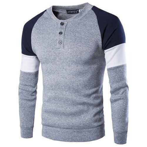 Men Stitching Color Raglan Sleeve Henley Sweaters
