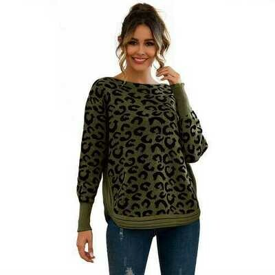 Leopard Print  Patchwork Block  Netted Texture Pullover Sweater