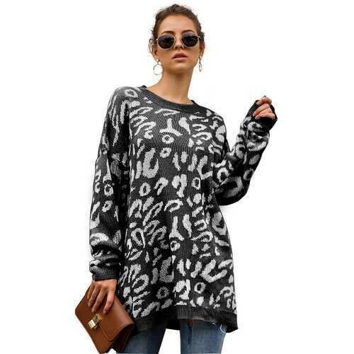 Women Leopard Print winter Pullover Knitted  sweaters Black