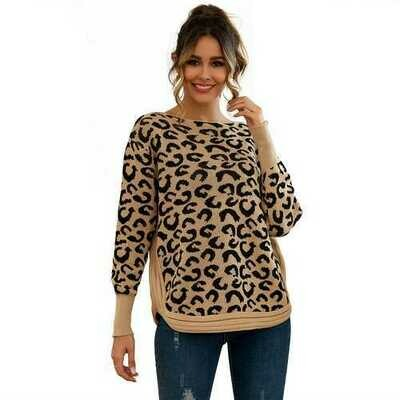 Leopard Print  Patchwork Block  Netted Texture Pullover Sweater Khaki