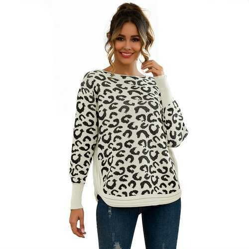 Leopard Print Patchwork Block Netted Texture Pullover Sweater White