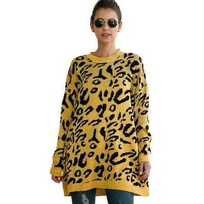 Women Leopard Print winter Pullover Knitted  sweaters Yellow