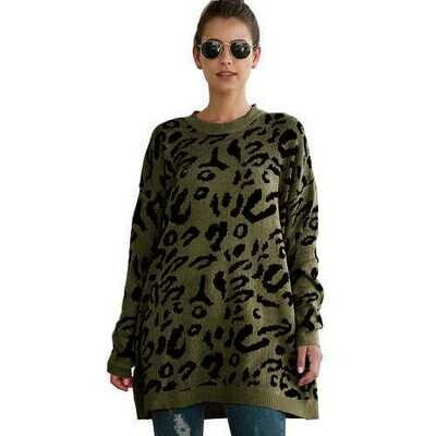 Women Leopard Print winter Pullover Knitted  sweaters Army Green