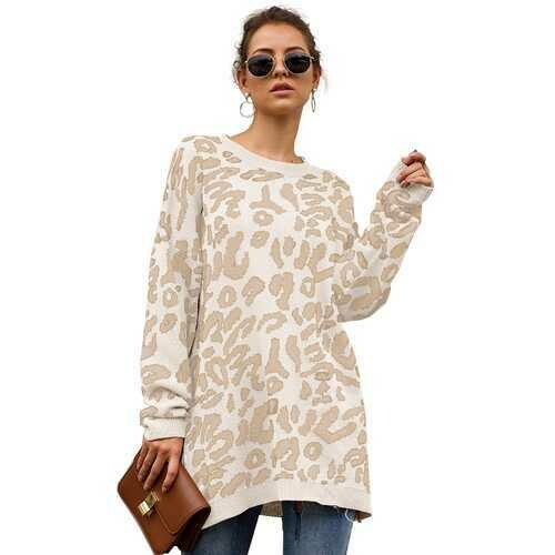 Women Leopard Print winter Pullover Knitted  sweaters