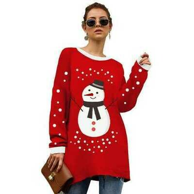 Christmas  Pullover Knitted sweater Deer Snow printed sweaters  Red