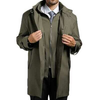 Oversize Business Casual Mens Windbreaker Fashion Detachable Inner Mid-long Stand Collar Trench Coat