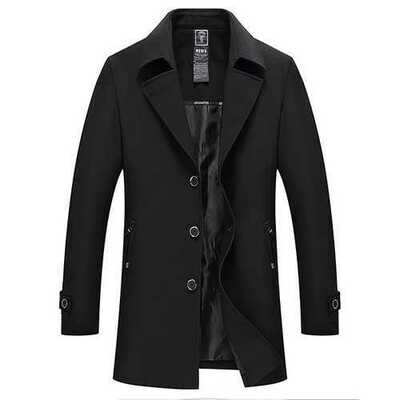 Men's Spring Autumn Waterproof Turn-down Collar Jacket Business Casual  Single-breasted Trench Coat