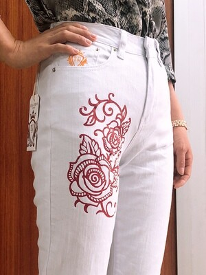 Womens  Jeans Loose /Loose fit casual white denims Pants-Rose Print